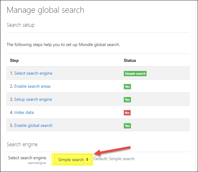 Moodle 3.5 Global Search