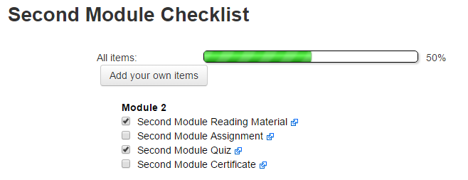 Moodle Plugin Checklist Module Student