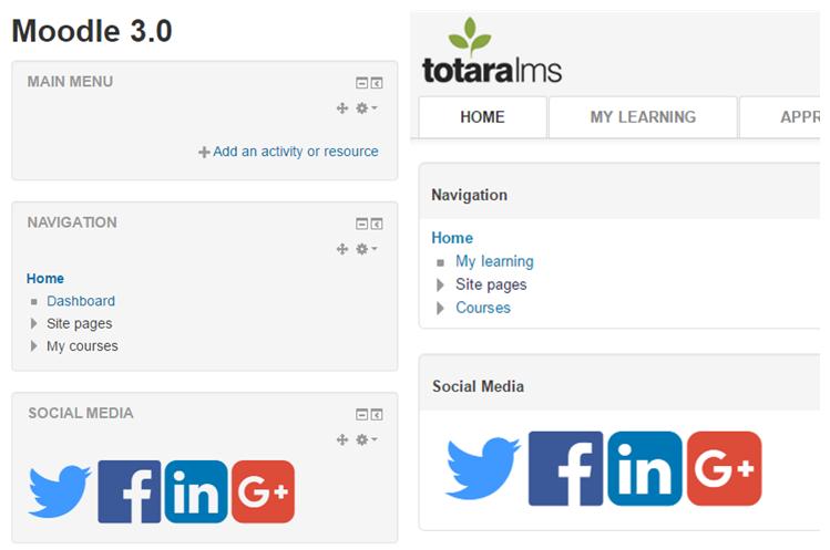 Social Media Icon Moodle Totara Learn Site