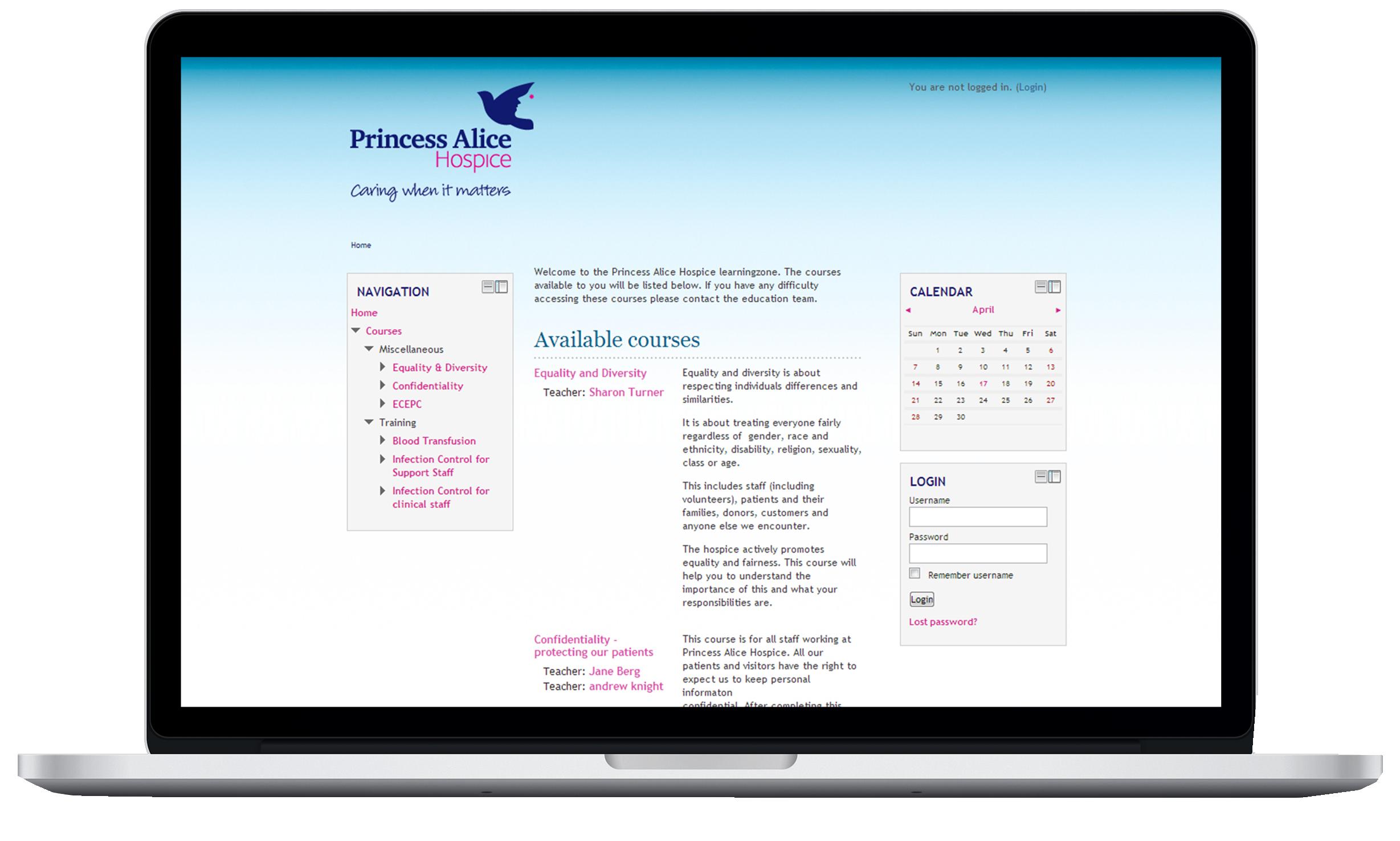 Princess Alice Hospice - Moodle Site - LMS Case Study