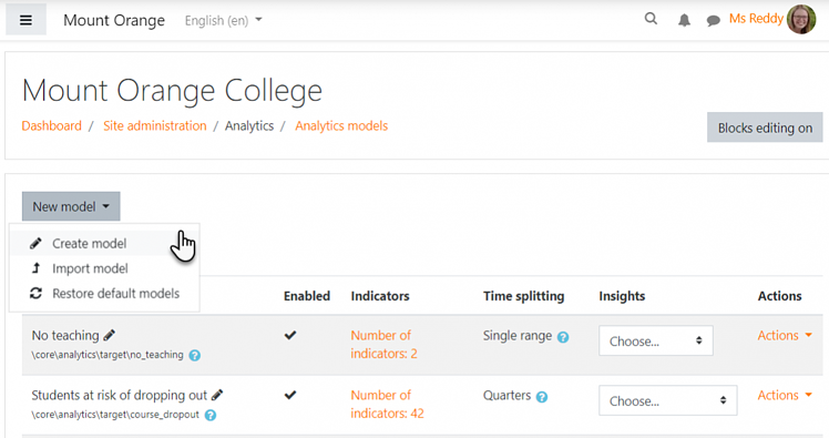 Analytics - Moodle 3.7